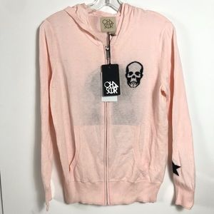 Chaser Cotton Cashmere Skull Star Hoodie M NWT